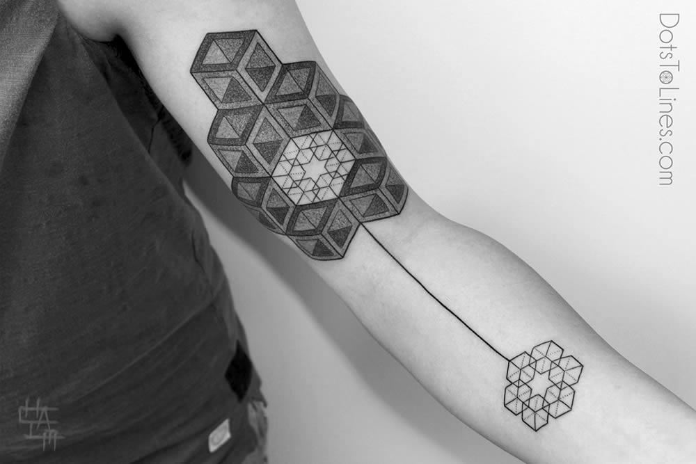 Brilliant Escher Cubes Tattoo On Arm By Kenji