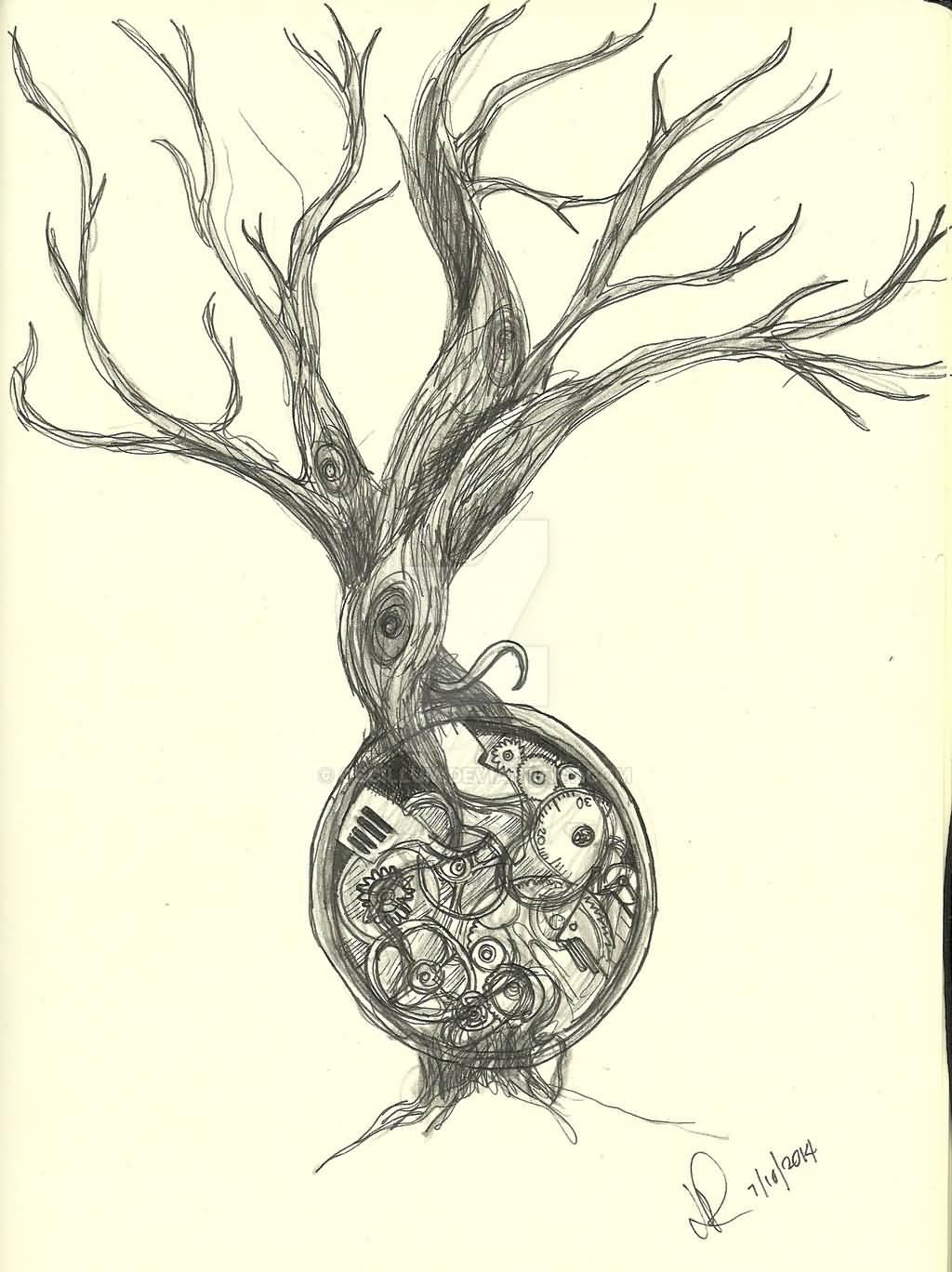 Brilliant Tree Of Life Steampunk Tattoo Sketch By Oscillum
