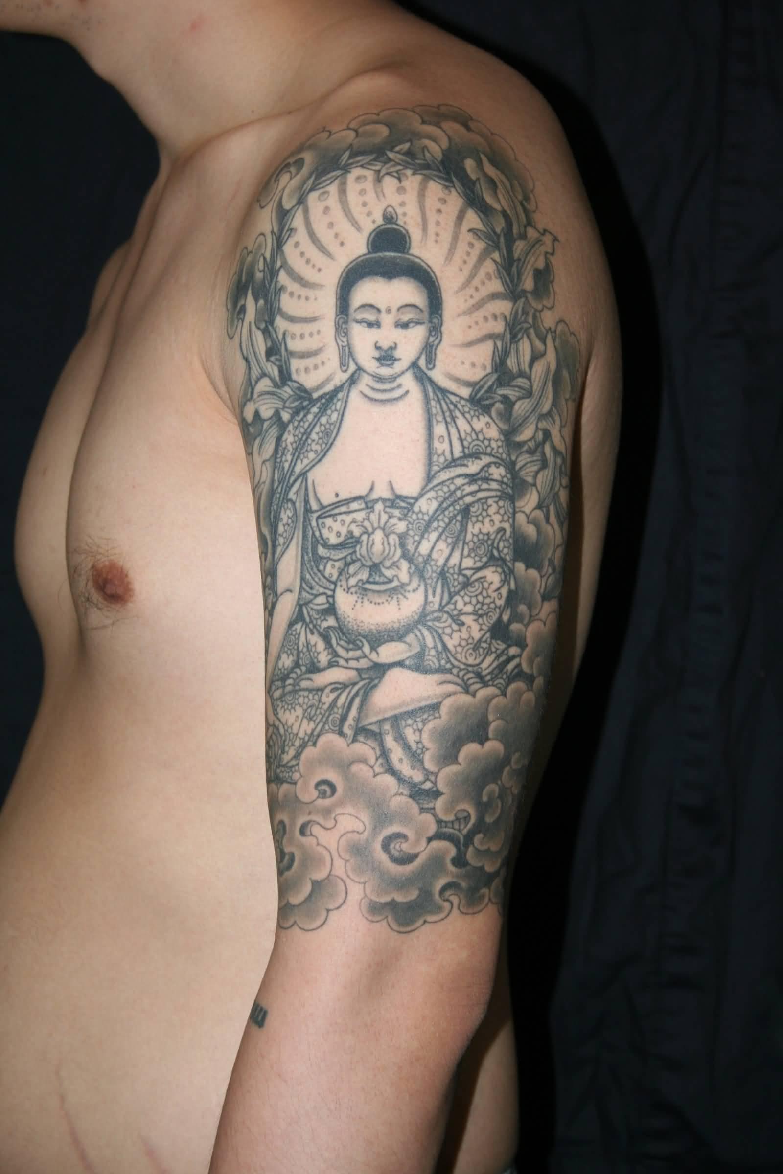 Buddha Tibetan Tattoo On Left Half Sleeve For Men