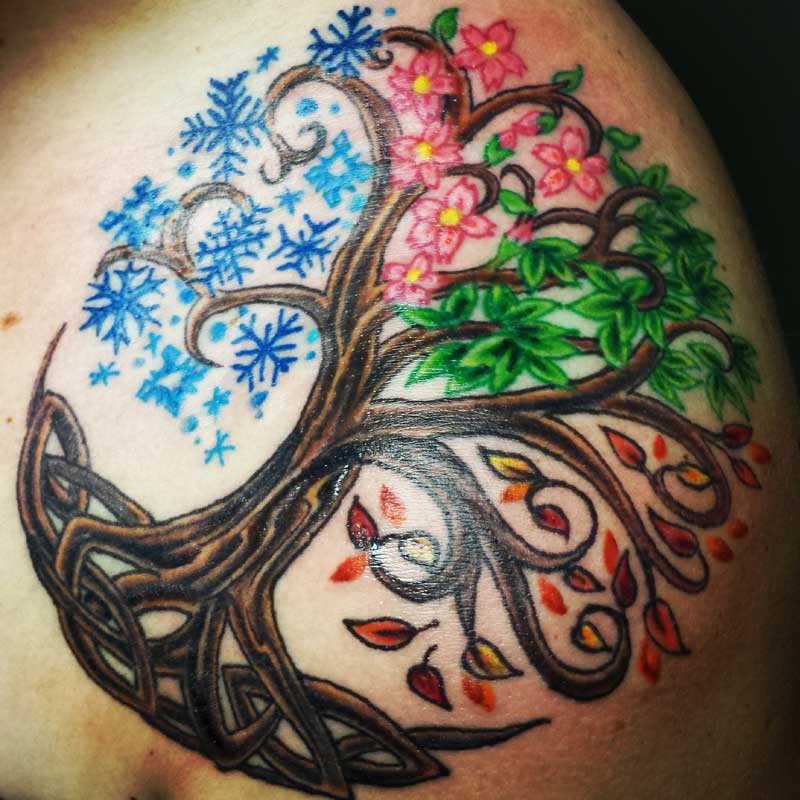 Celtic Tree Of Life In Seasons Tattoo