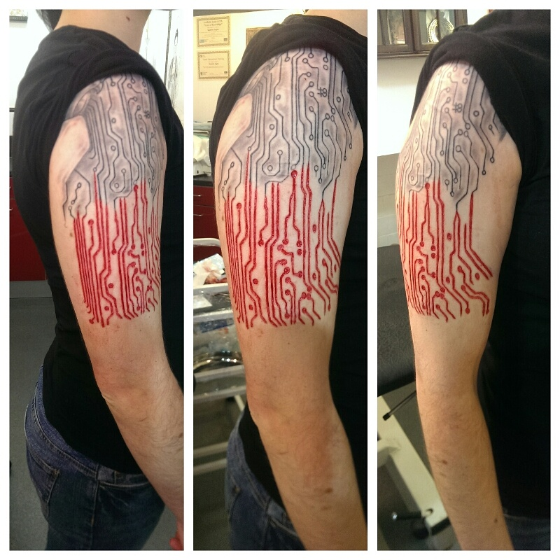 0e5071f9a Circuit Board Scarification Tattoo On Right Half Sleeve For Men