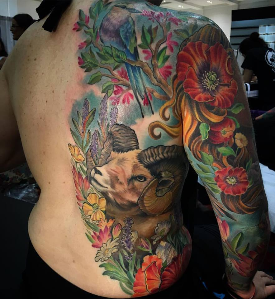 Color flowers and aries tattoo on side rib and full sleeve for Flowers for aries woman