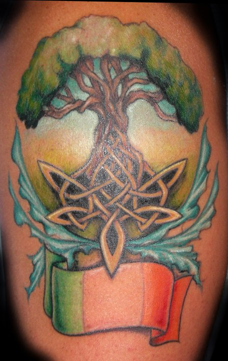 Colorful Celtic Tree Of Life Tattoo