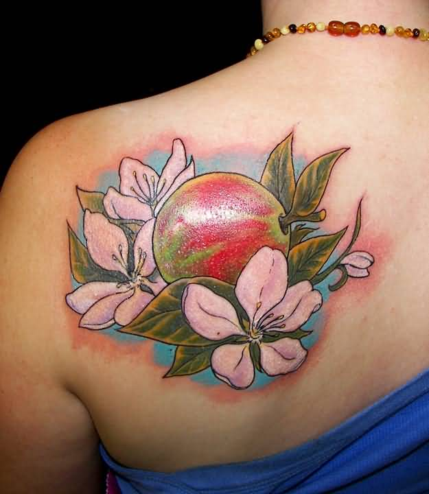 Colorful Pagan Tattoo On Left Back Shoulder