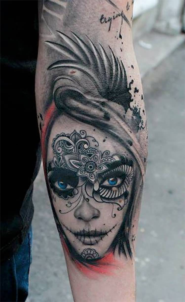 Cool catrina with wings tattoo on arm sleeve for Cool forearm tattoos