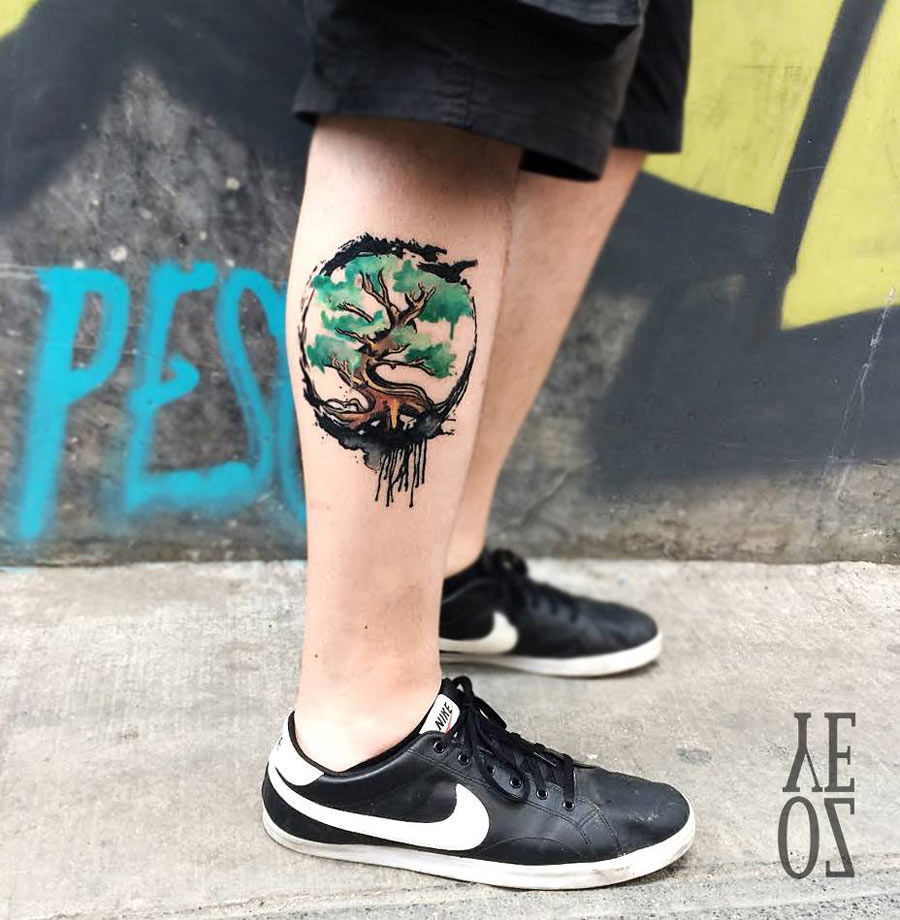Cool Small Tree Of Life Watercolor Tattoo On Right Leg