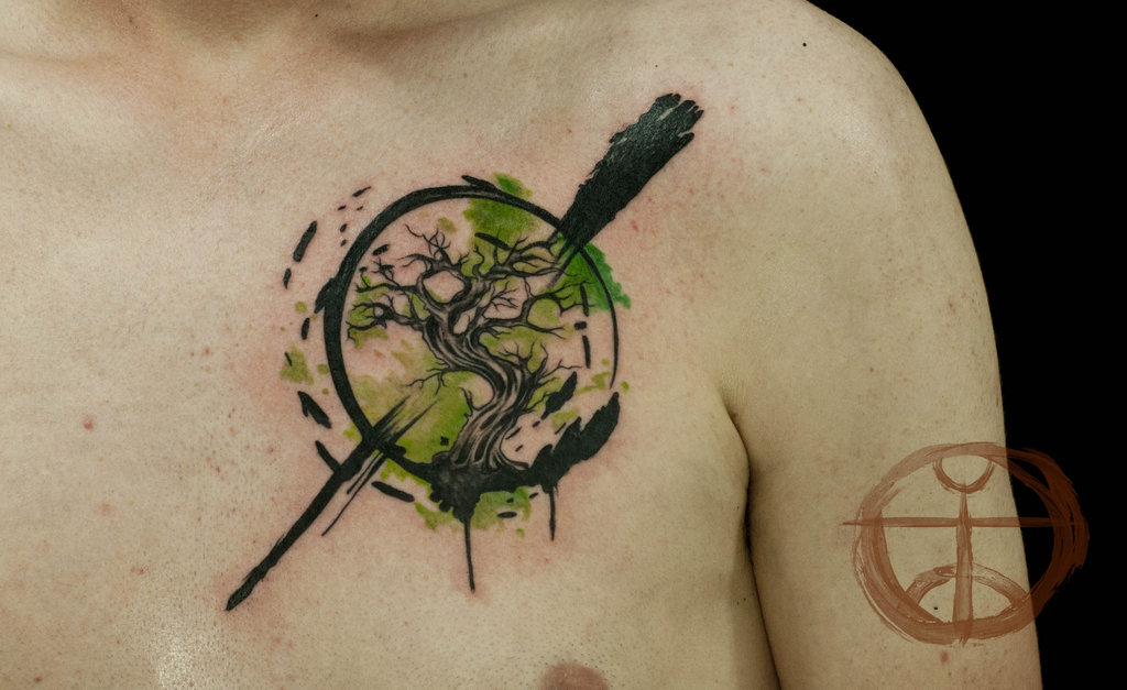 Cool Tree Of Life In Circle Tattoo On Chest