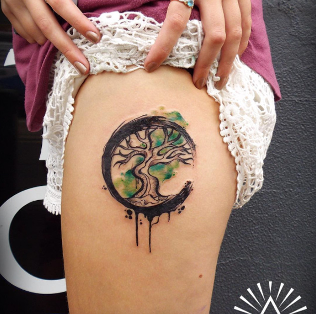 Cool Tree Of Life Watercolor Tattoo On Thigh By Cynthia ...