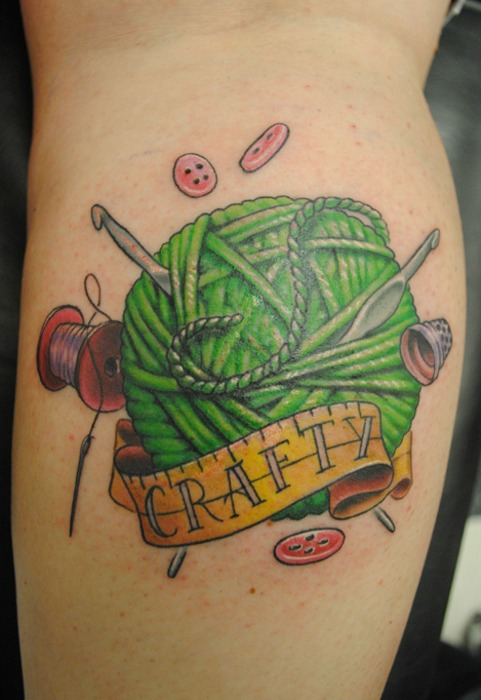 Crafty Yarn With Crochet Hooks Tattoo On Arm