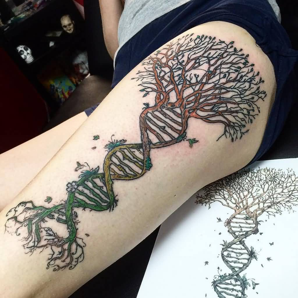 Creative DNA Tree Of Life Tattoo On Thigh