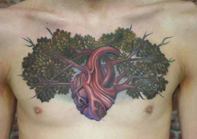 Creative Tree Of Life Tattoo On Chest For Men