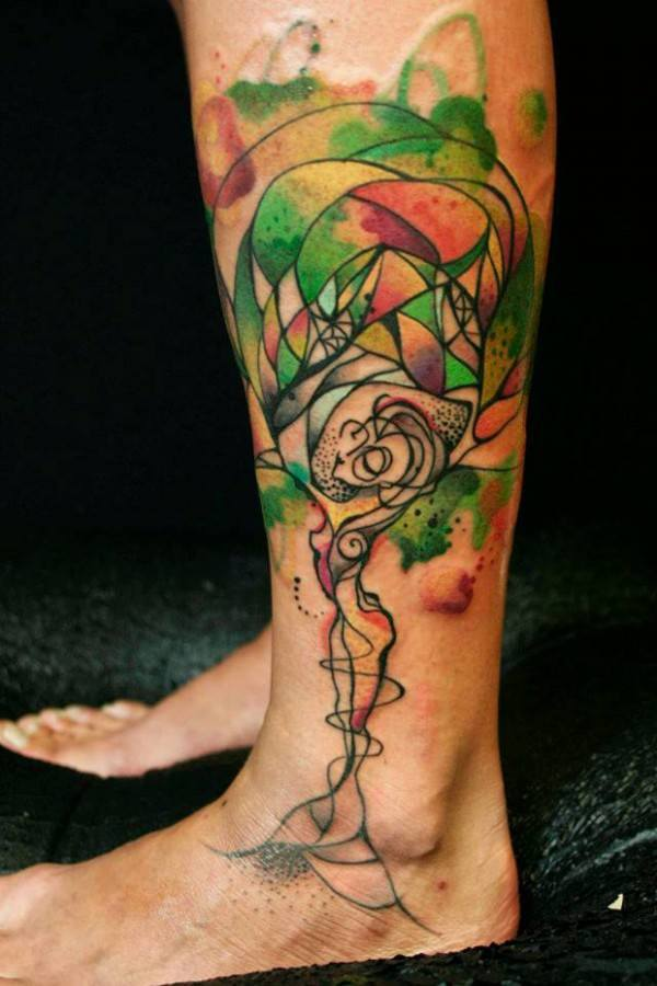 Creative Woman Tree Of Life Tattoo On Left Leg