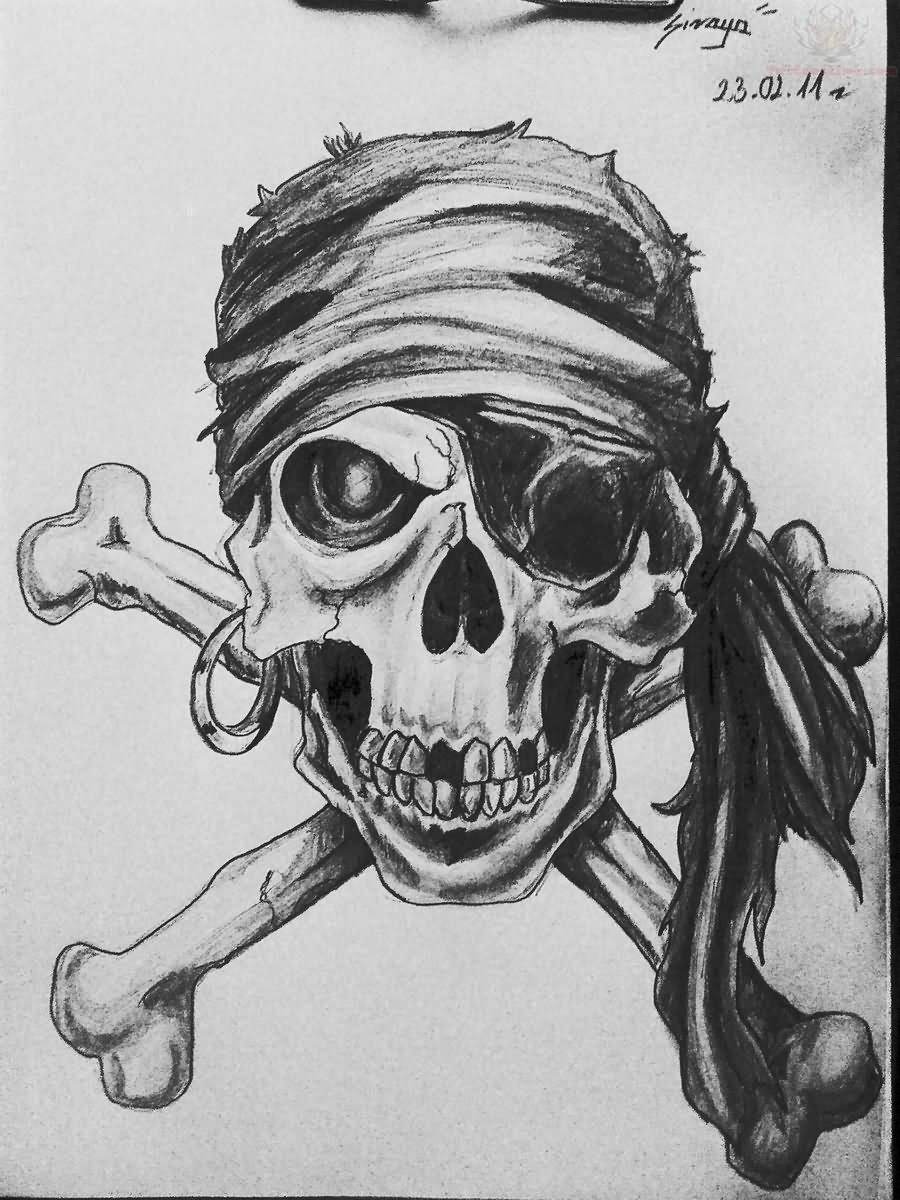 23 pirate skull tattoo designs for Skull and crossbones tattoo