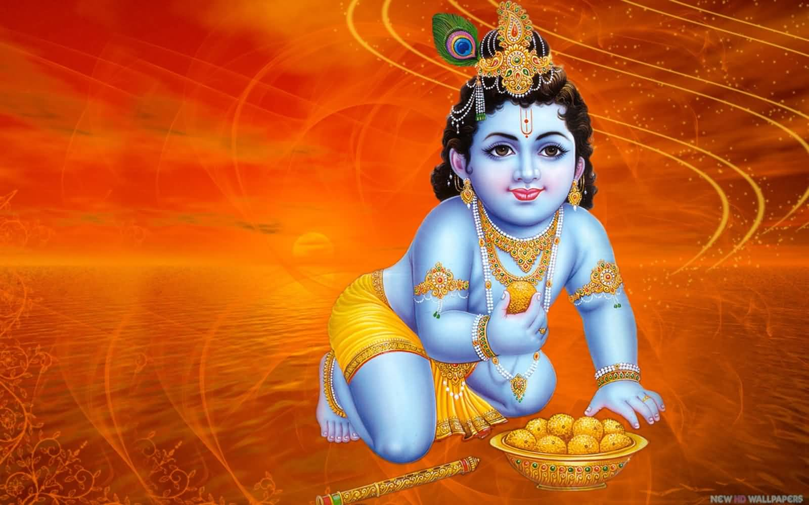 cute bal krishna happy krishna janmashtami wishes wallpaper
