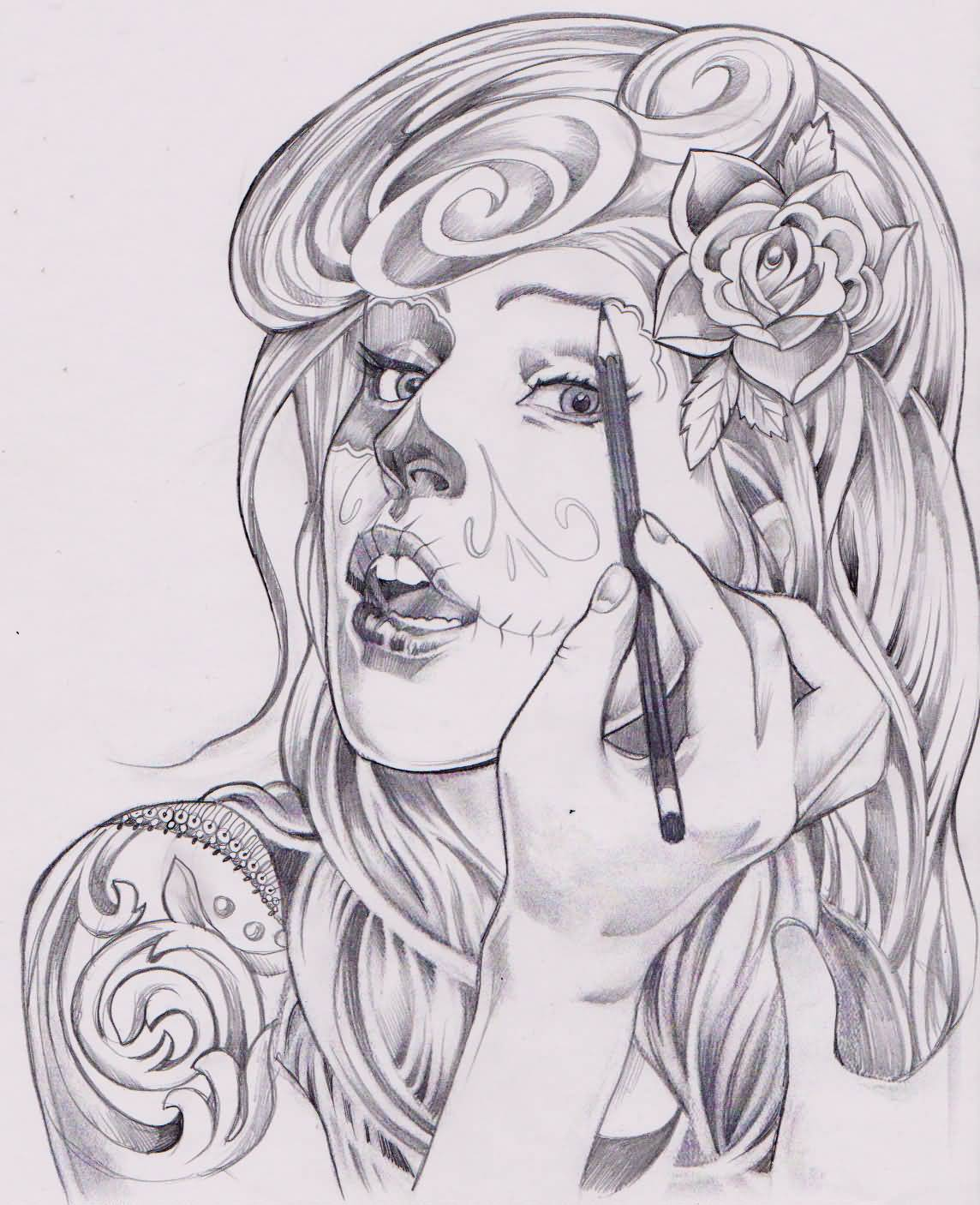 Sketch Tattoo Ideas Pinterest: Cute Catrina Drawing Herself Tattoo Sketch