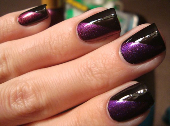 Dark Purple And Black Nail Art Design Idea - 35+ Dark Purple Nail Art Design Ideas