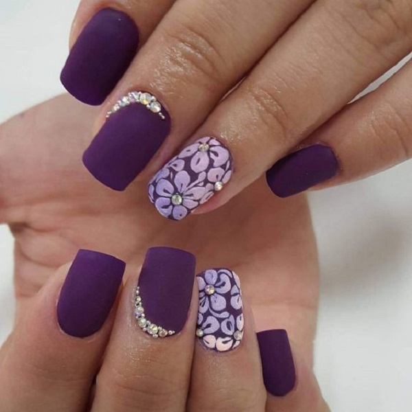 Dark Purple Matte With Flowers Design Nail Art