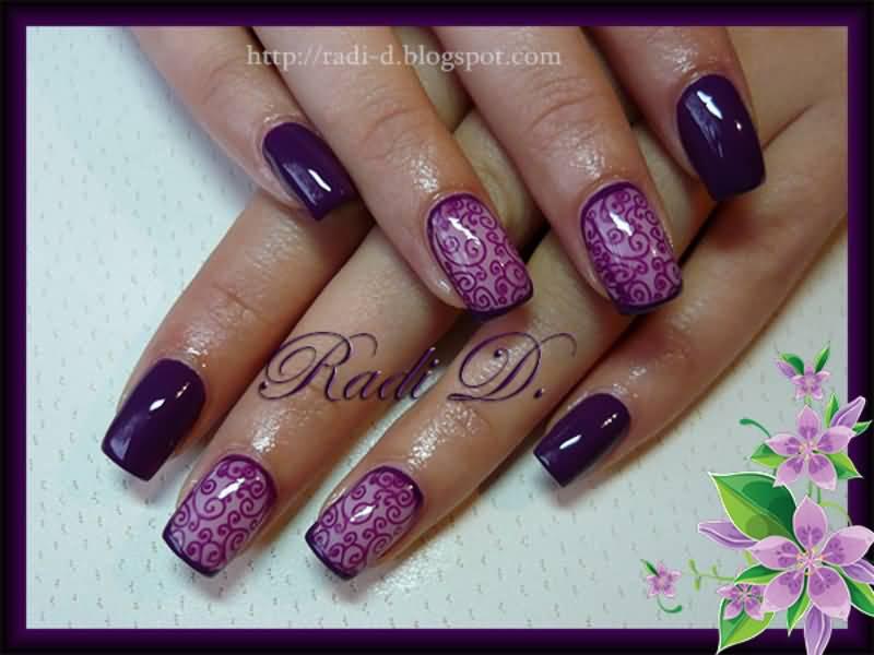35+ Dark Purple Nail Art Design Ideas