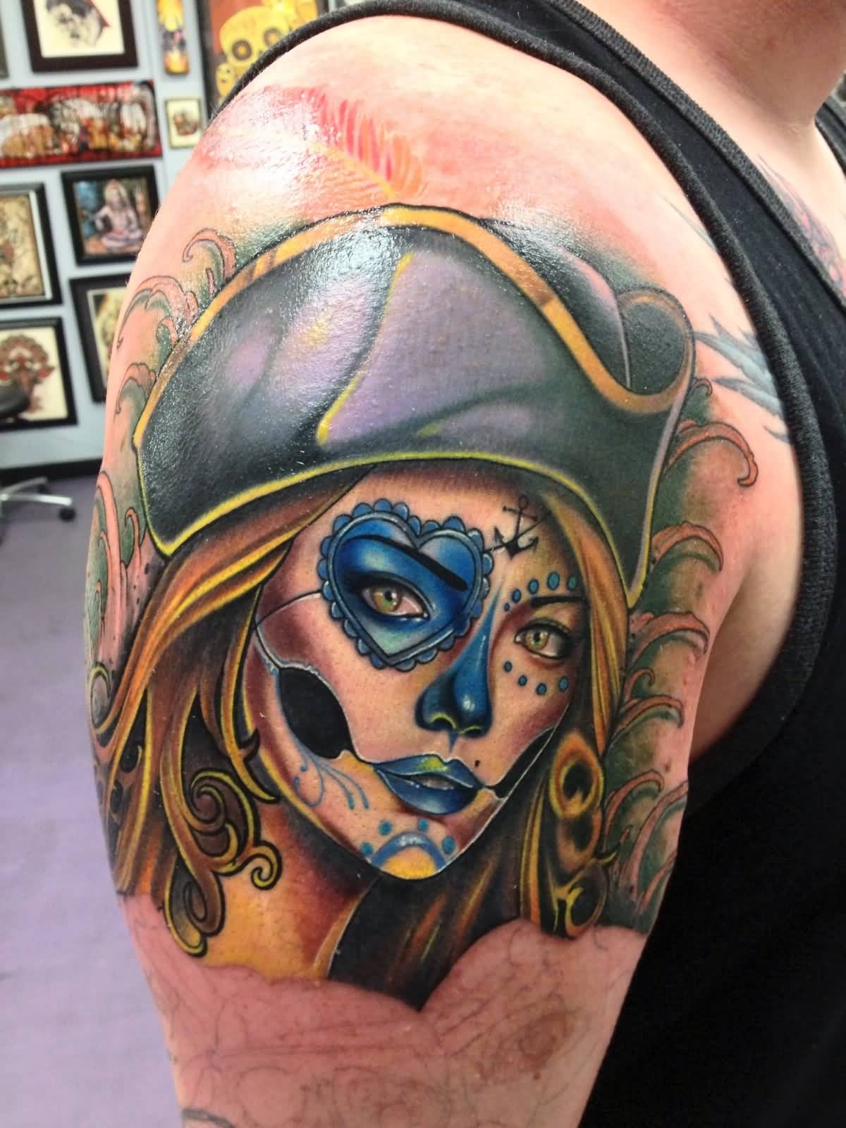 wonderful pirate girl tattoo on sleeve by sam clark. Black Bedroom Furniture Sets. Home Design Ideas