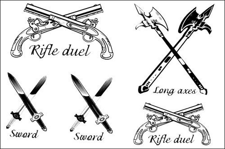 Different Weapons Tattoos Design Set