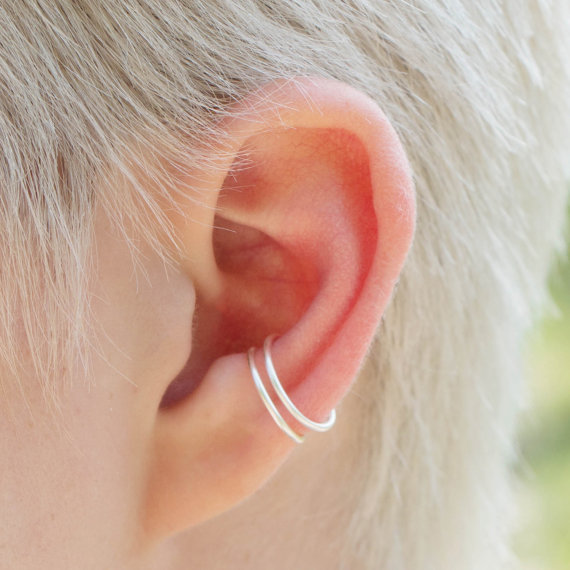 silver hoop rings dual conch piercing on right ear. Black Bedroom Furniture Sets. Home Design Ideas