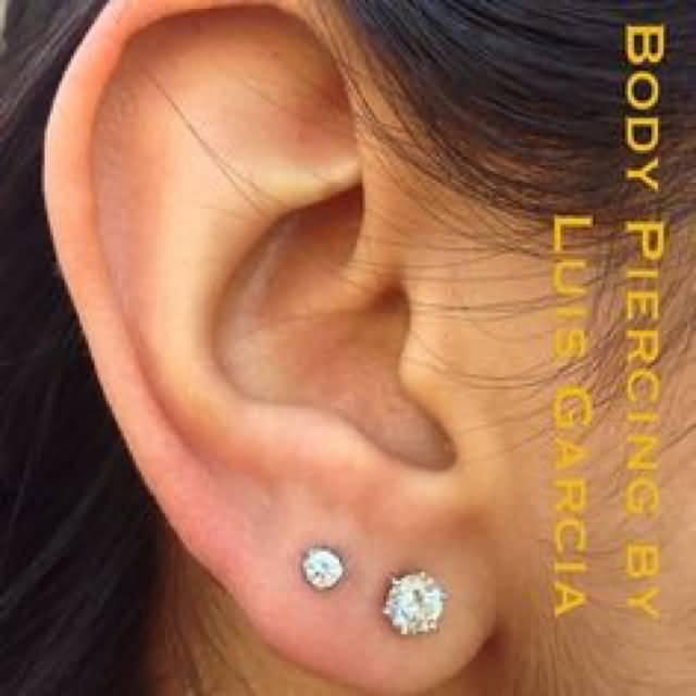 Double Earlobe Piercing On Right Ear