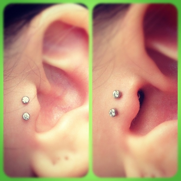 Double Tragus Piercing With Anchors