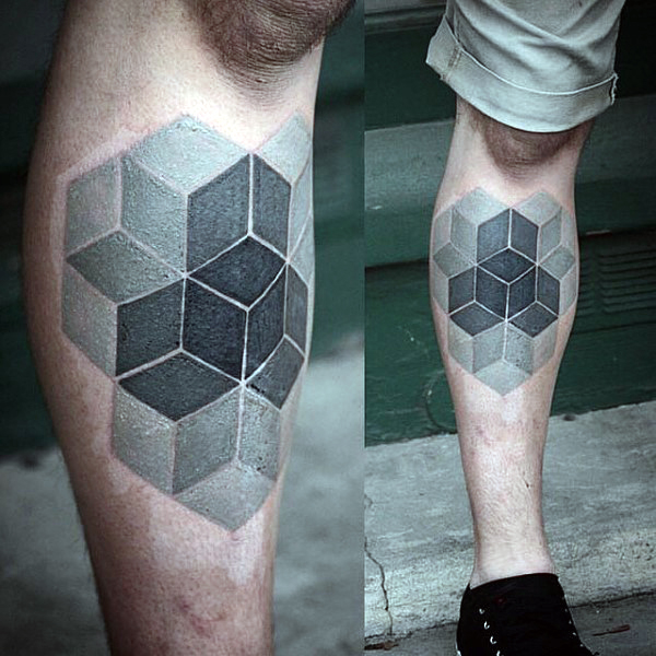 Escher Cube Illusion Tattoo On Leg