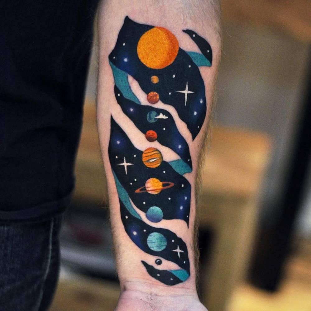 Cote Tattoo escher solar system tattoo on forearmdavid cote