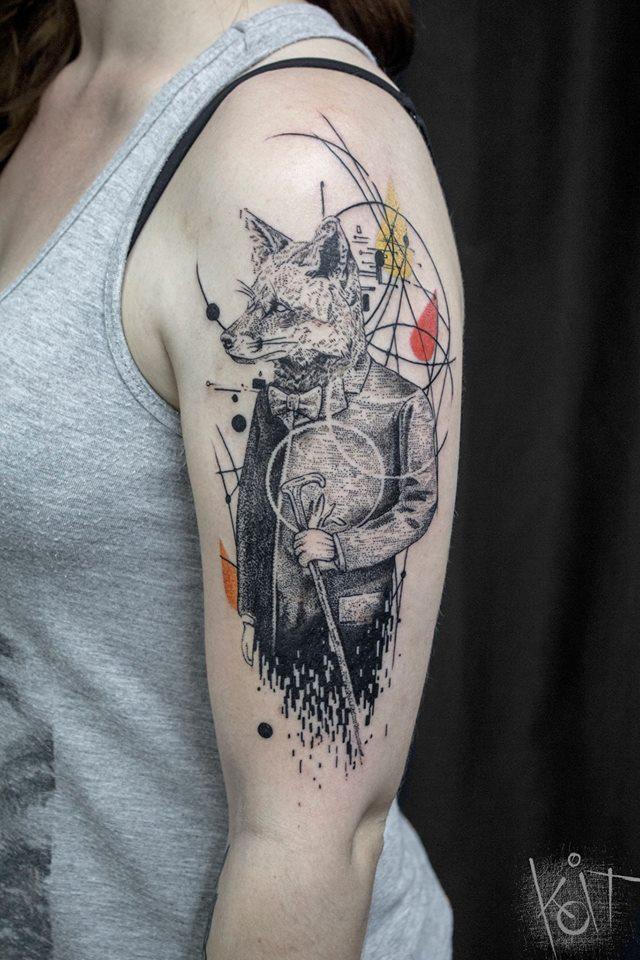 geometric fox tattoo on left half sleeve by koit tattoo. Black Bedroom Furniture Sets. Home Design Ideas
