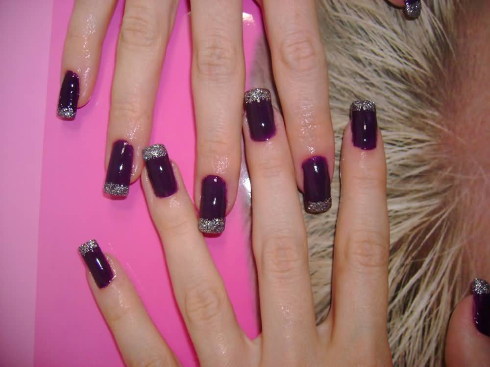 Glossy Purple And Silver Glitter French Tip Nail Art