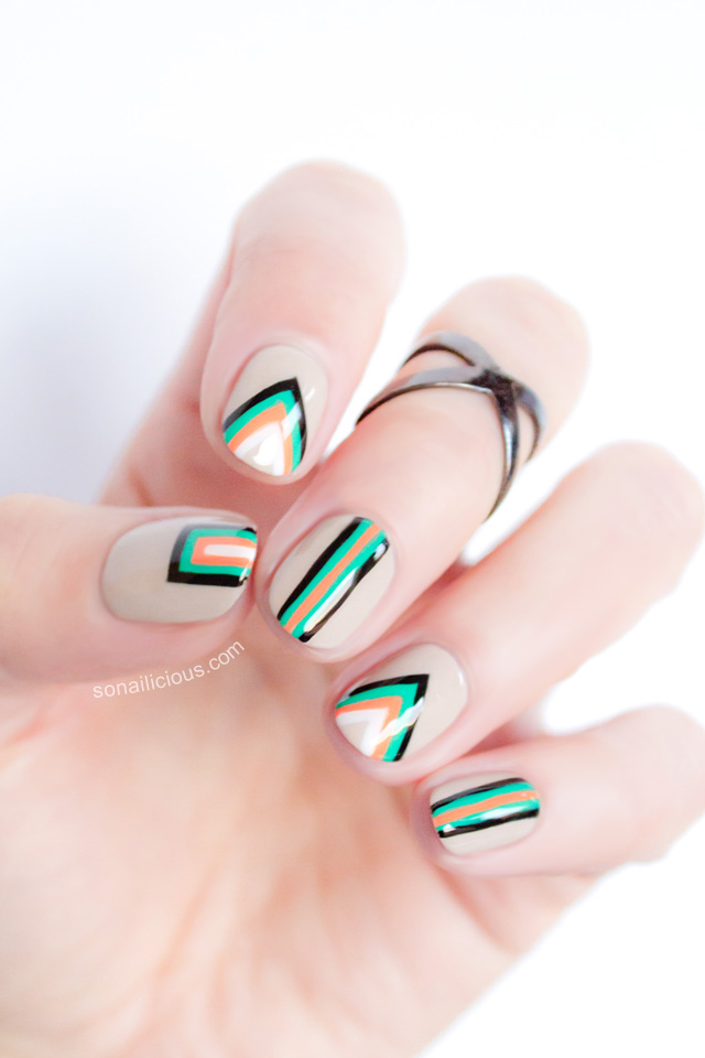 Green orange and black geometric nail art prinsesfo Images