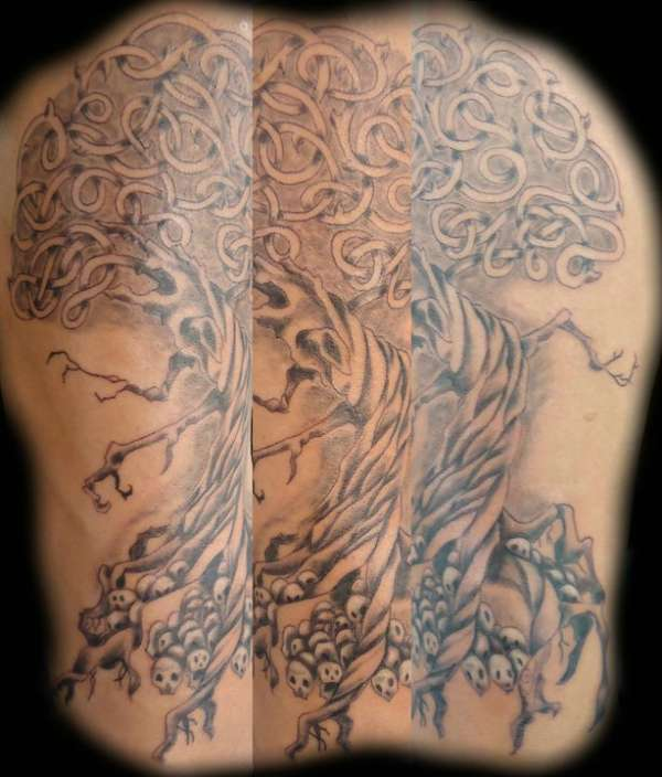 Grey Celtic Skulls Tree Of Life Tattoo
