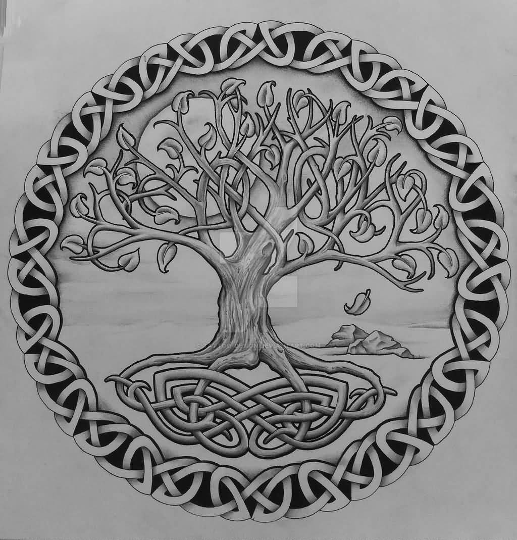 Grey Celtic Tree Of Life With Rocks Tattoo Design By Tattoo Design