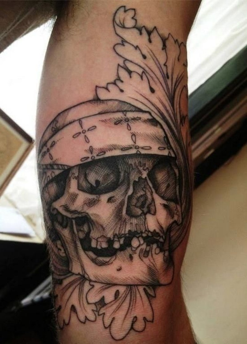realistic black pirate skull tattoo on forearm by killerinktattoo. Black Bedroom Furniture Sets. Home Design Ideas