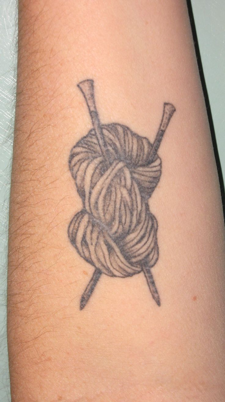 Knitting Related Tattoos : Yarn tattoos on forearm
