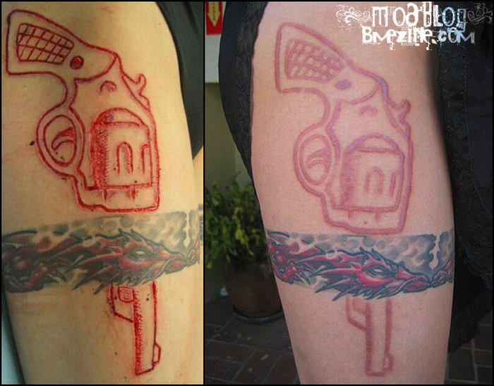 42b45abcb7bed Gun Scarification Before And After Tattoo On Thigh