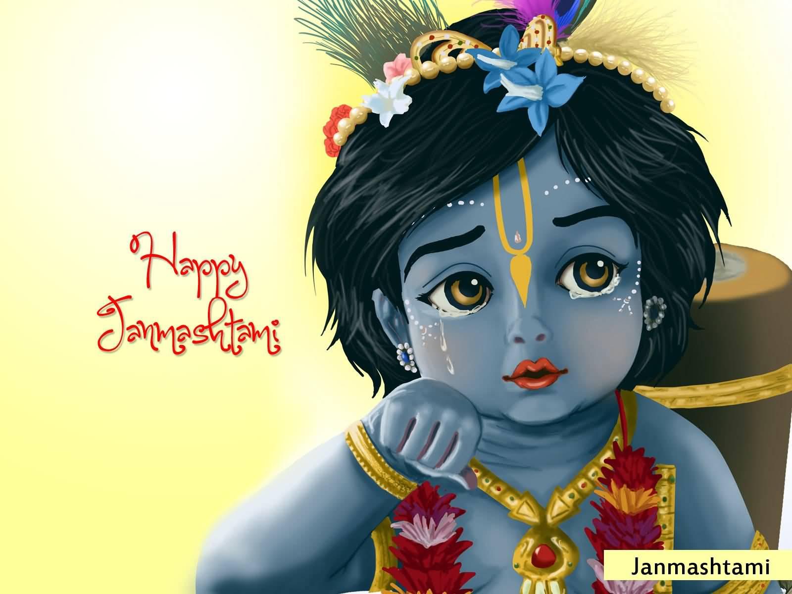 Happy Janmashtami Bal Krishna Beautiful Wallpaper