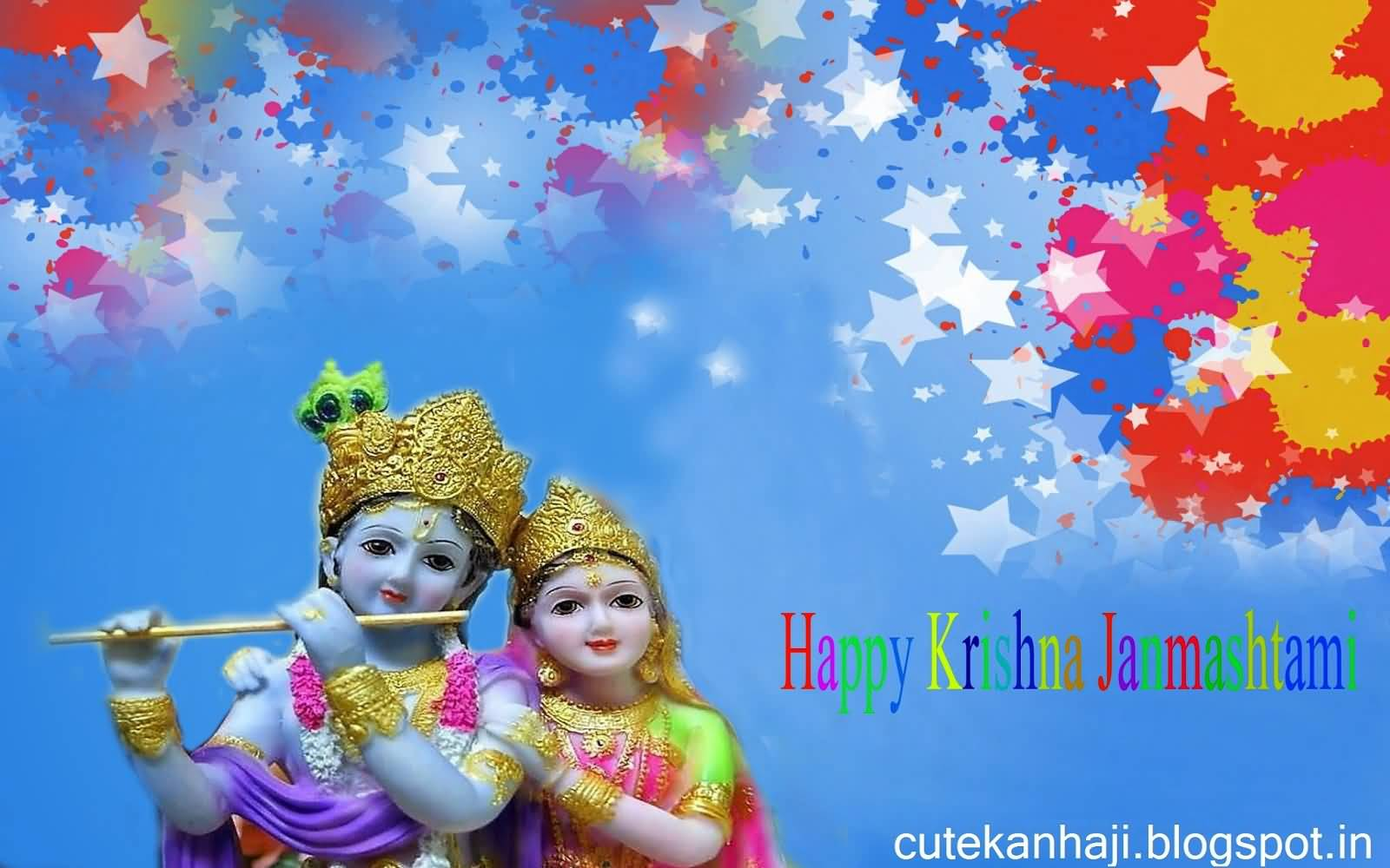 Happy Krishna Janmashtami Colorful HD Wallpaper