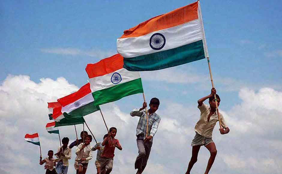 Kids Running With Indian Flags In Hand Happy Independence Day