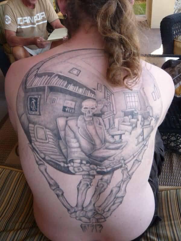 11 escher tattoos on back. Black Bedroom Furniture Sets. Home Design Ideas