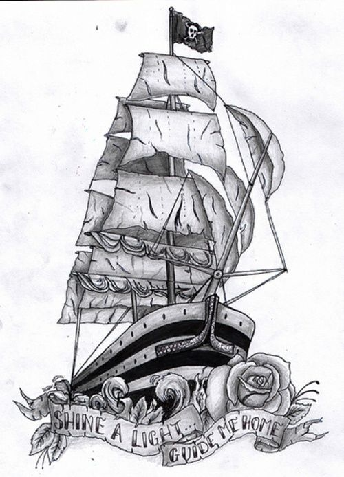 9 pirate ship tattoos designs. Black Bedroom Furniture Sets. Home Design Ideas