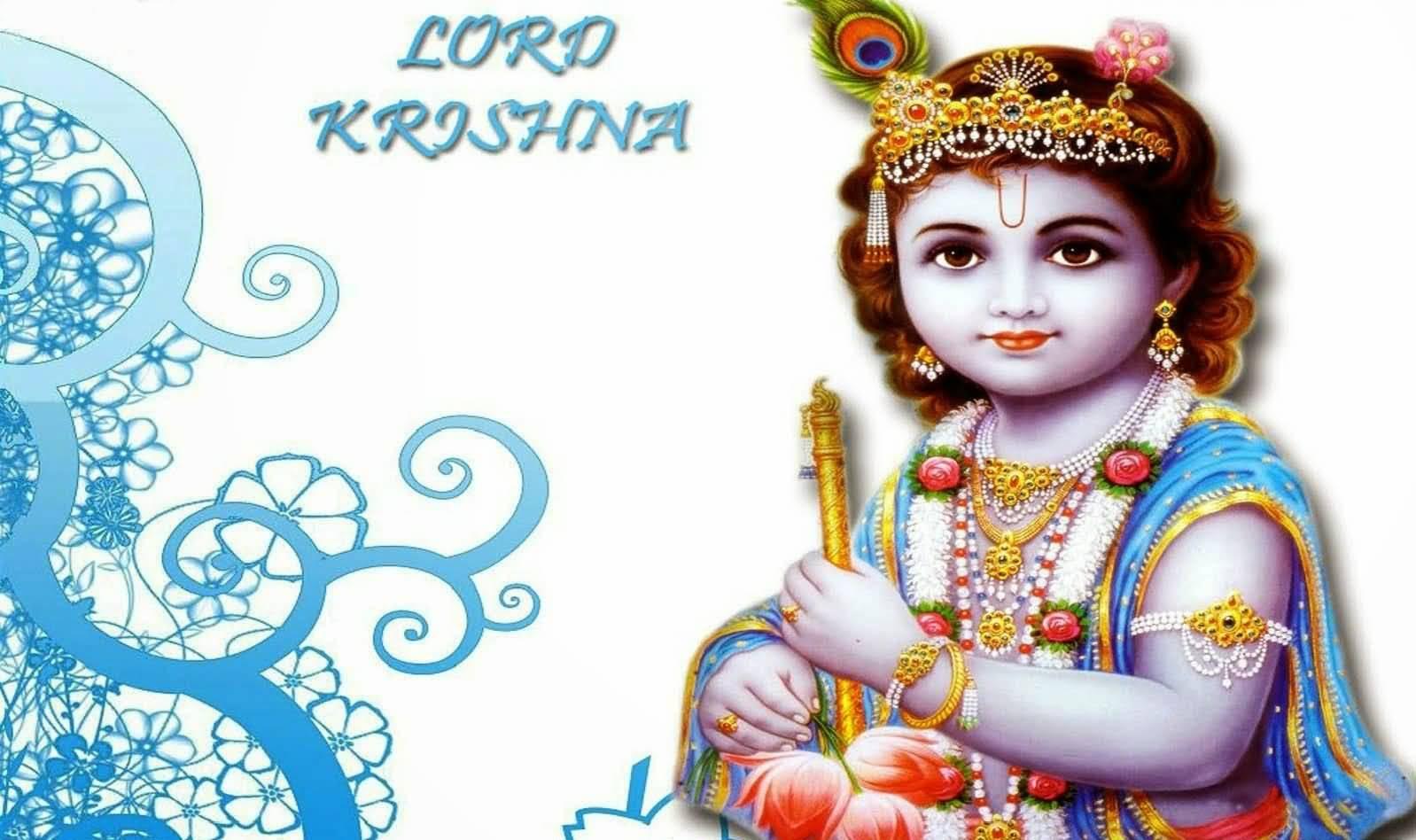 Lord Krishna Janmashtami Greetings Wallpaper Image