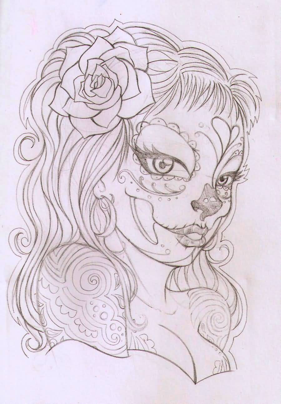 lovely catrina with rose on hair tattoo design. Black Bedroom Furniture Sets. Home Design Ideas