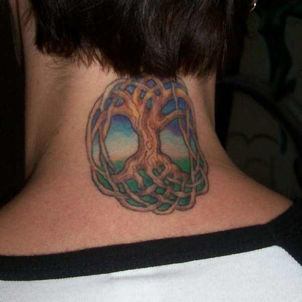 Nape Colorful Tree Of Life Tattoo