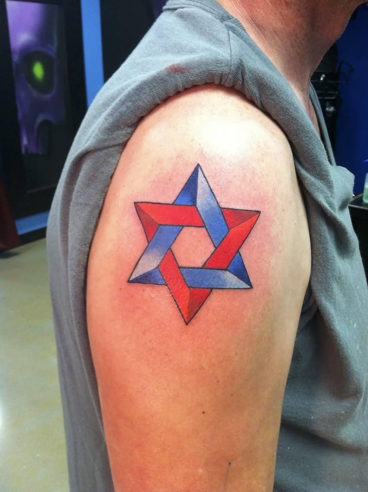 6cbfd9b22 Nice Colorful David Star Right Shoulder Tattoo