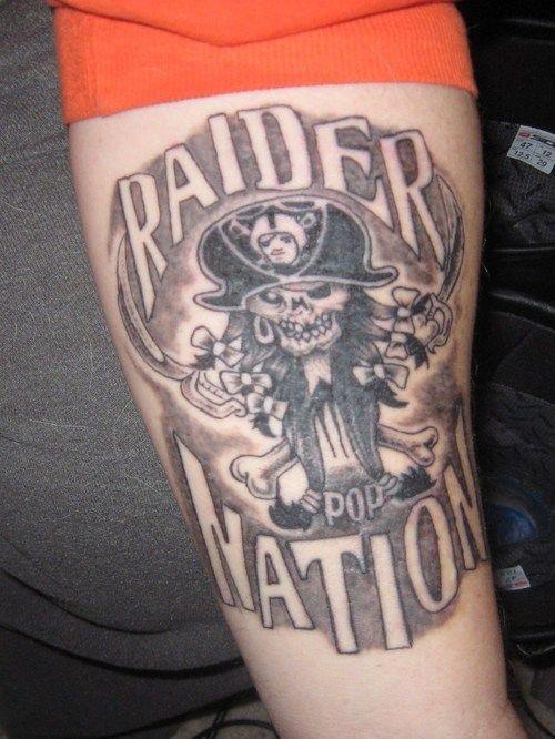 52 best oakland raiders tattoos for Raider nation tattoos