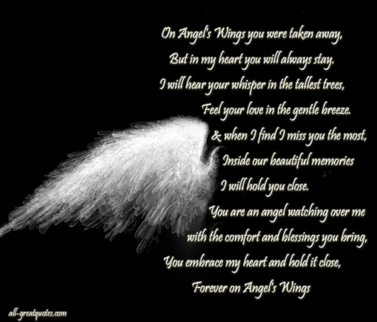 On Angels Wings You Were Taken Away But In My Heart Will Always Stay
