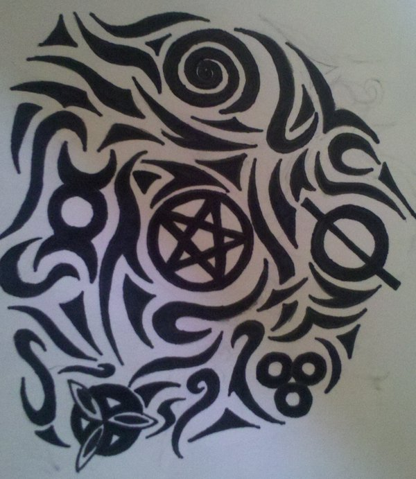 Black And White Pagan Tattoo Design By Pagan Symbol
