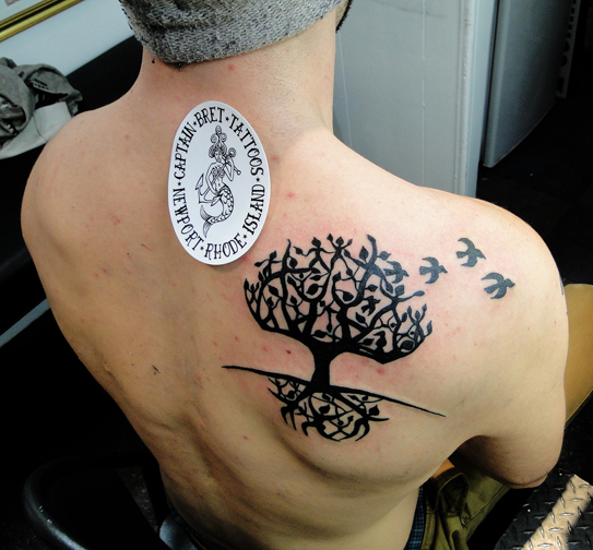 People With Flying Birds Tree Of Life Tattoo On Right Back Shoulder